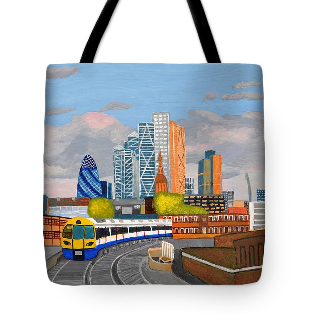 Train Tote Bag featuring the painting London Overland Train-hoxton Station by Magdalena Frohnsdorff
