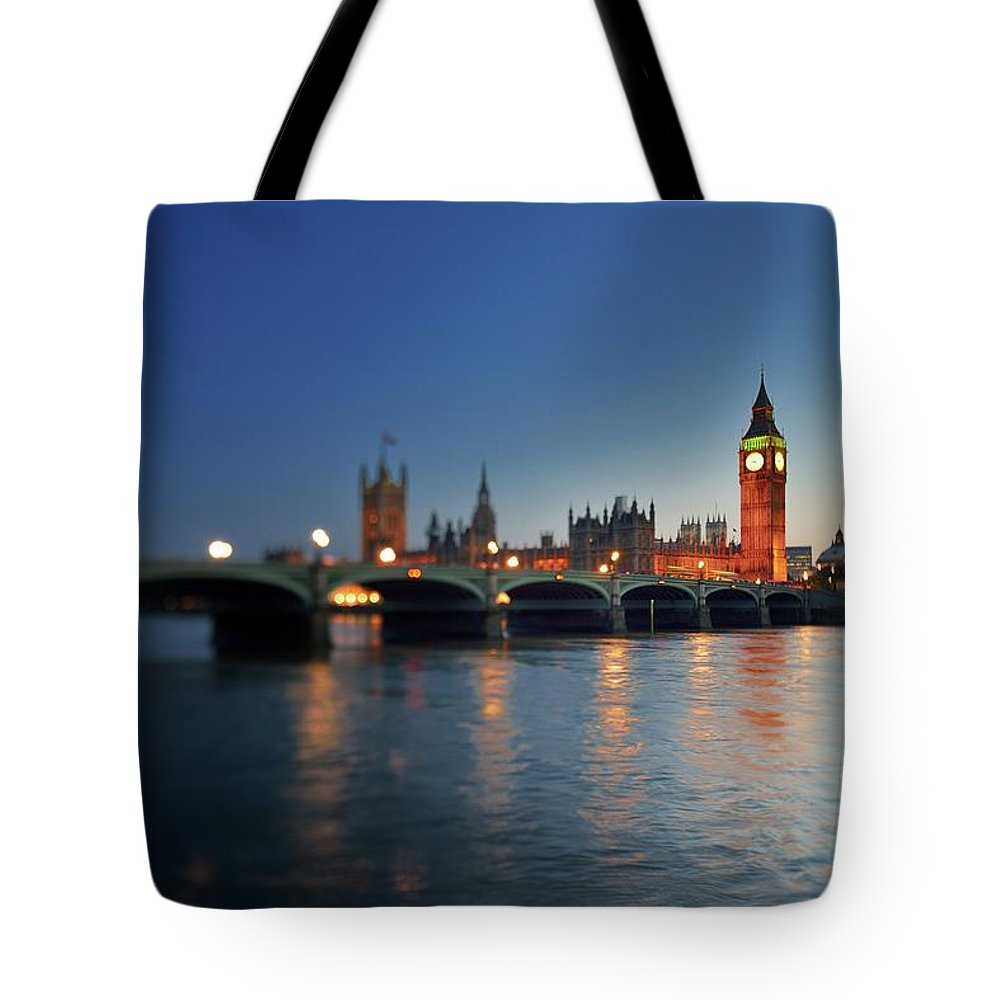 Tranquility Tote Bag featuring the photograph London, Palace Of Westminster At Sunset by Vladimir Zakharov