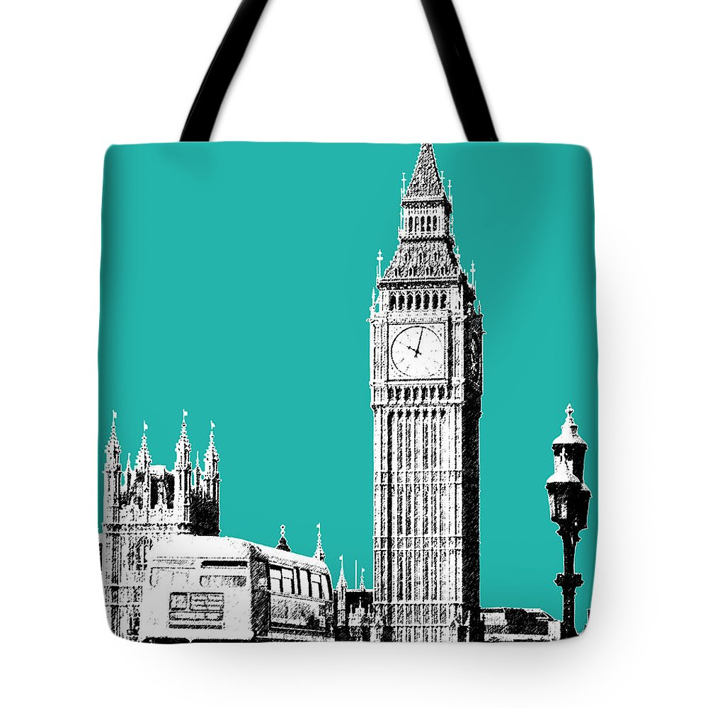 Architecture Tote Bag featuring the digital art London Skyline Big Ben - Teal by DB Artist