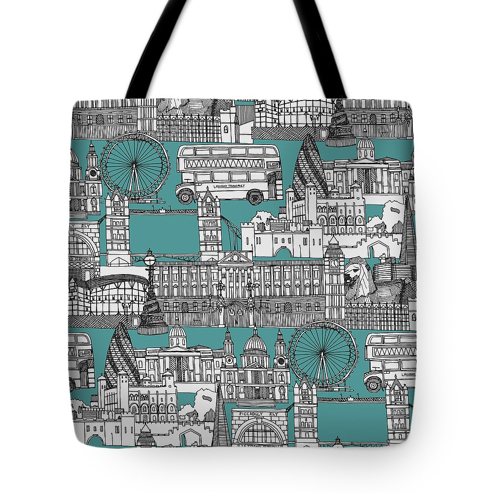 Includes The Tower Of London Tote Bag featuring the drawing London Toile Blue by MGL Meiklejohn Graphics Licensing