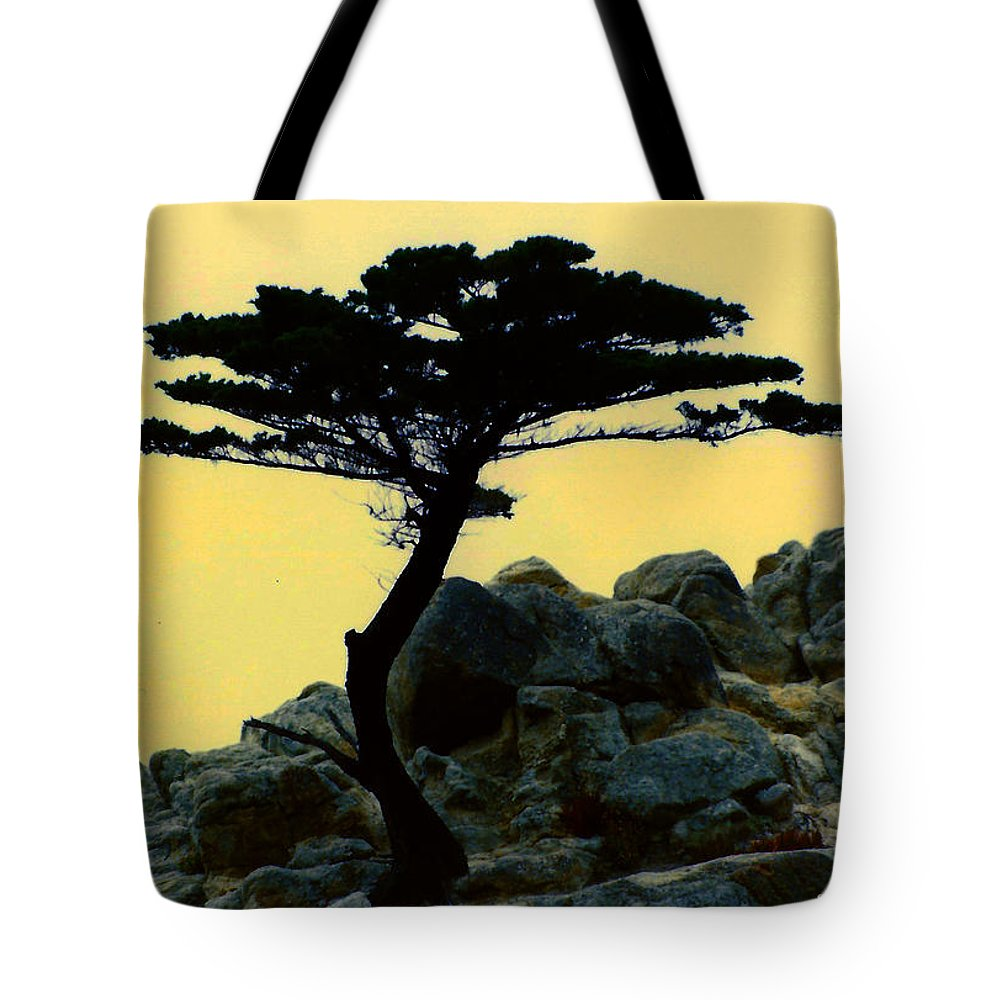 Lone Cypress Companion Tote Bag featuring the digital art Lone Cypress Companion by Barbara Snyder