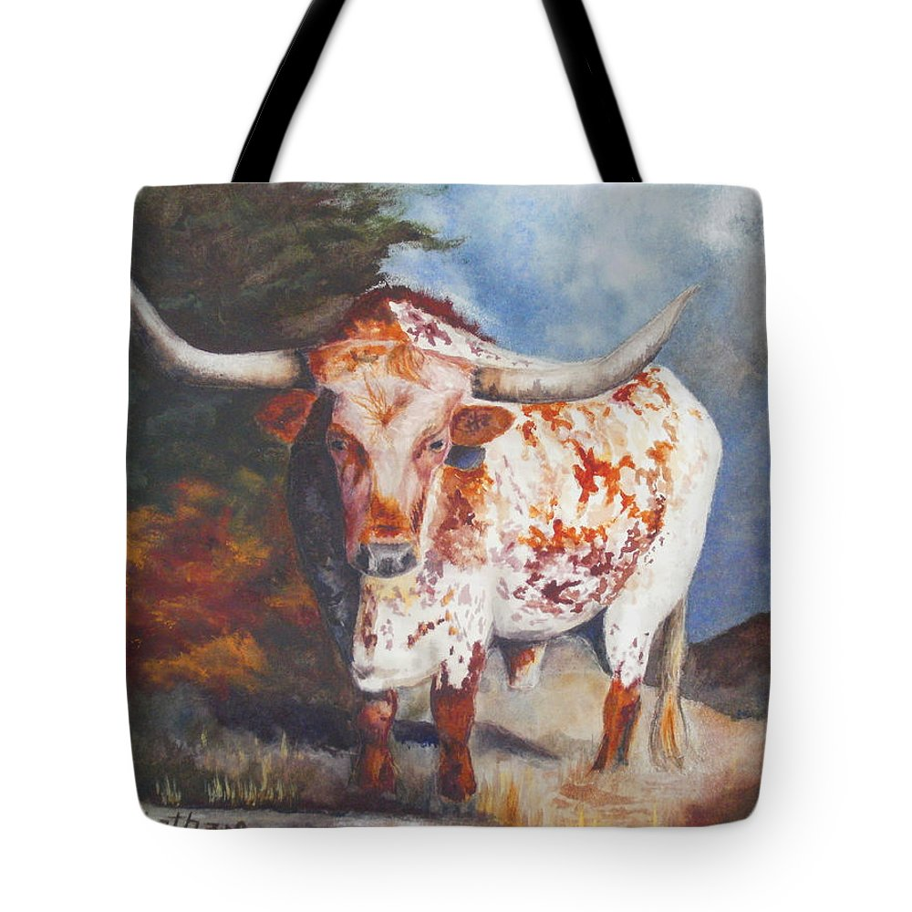 Longhorn Art Tote Bag featuring the painting Lone Star Longhorn by Karen Kennedy Chatham