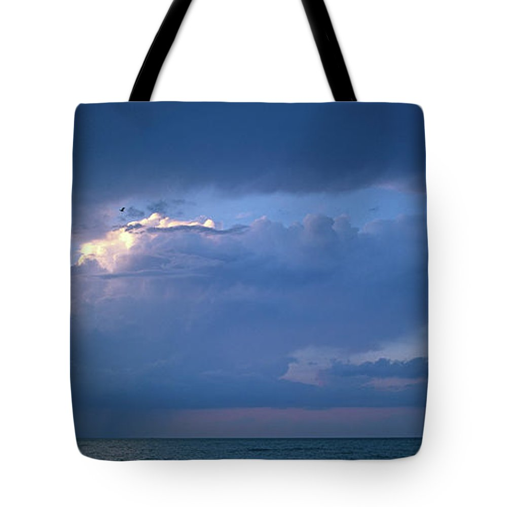 Panoramic Tote Bag featuring the photograph Lone Thunderstorm On Lake Erie by John Harmon