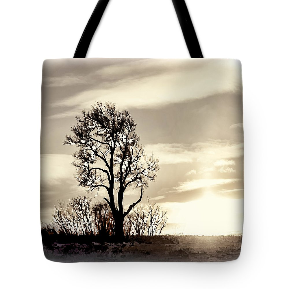 Dusk Tote Bag featuring the photograph Lone Tree At Dusk by Ray Summers Photography