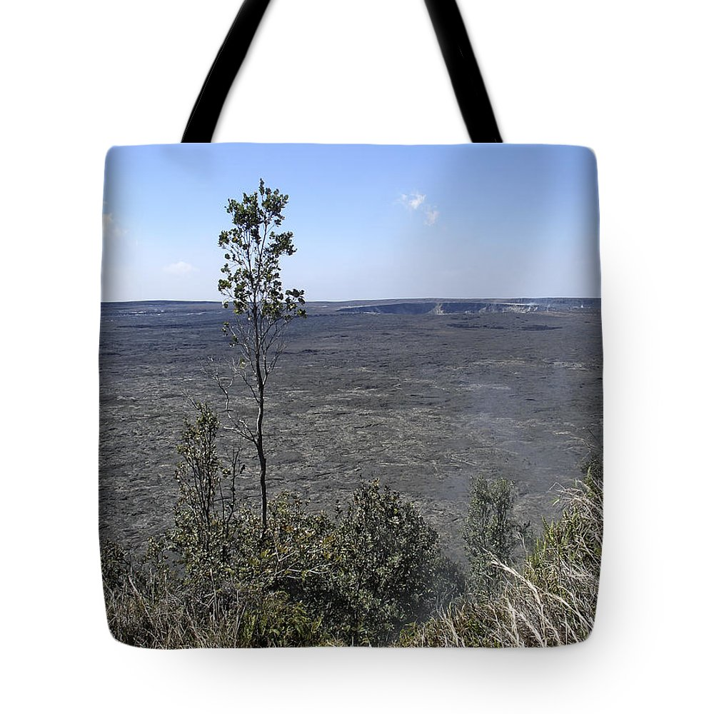 Pele Tote Bag featuring the photograph Lone Tree Kilauea Crater by Daniel Hagerman
