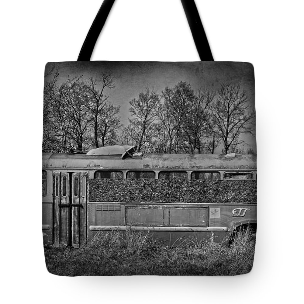 Bus Tote Bag featuring the photograph Lonely Bus by The Artist Project