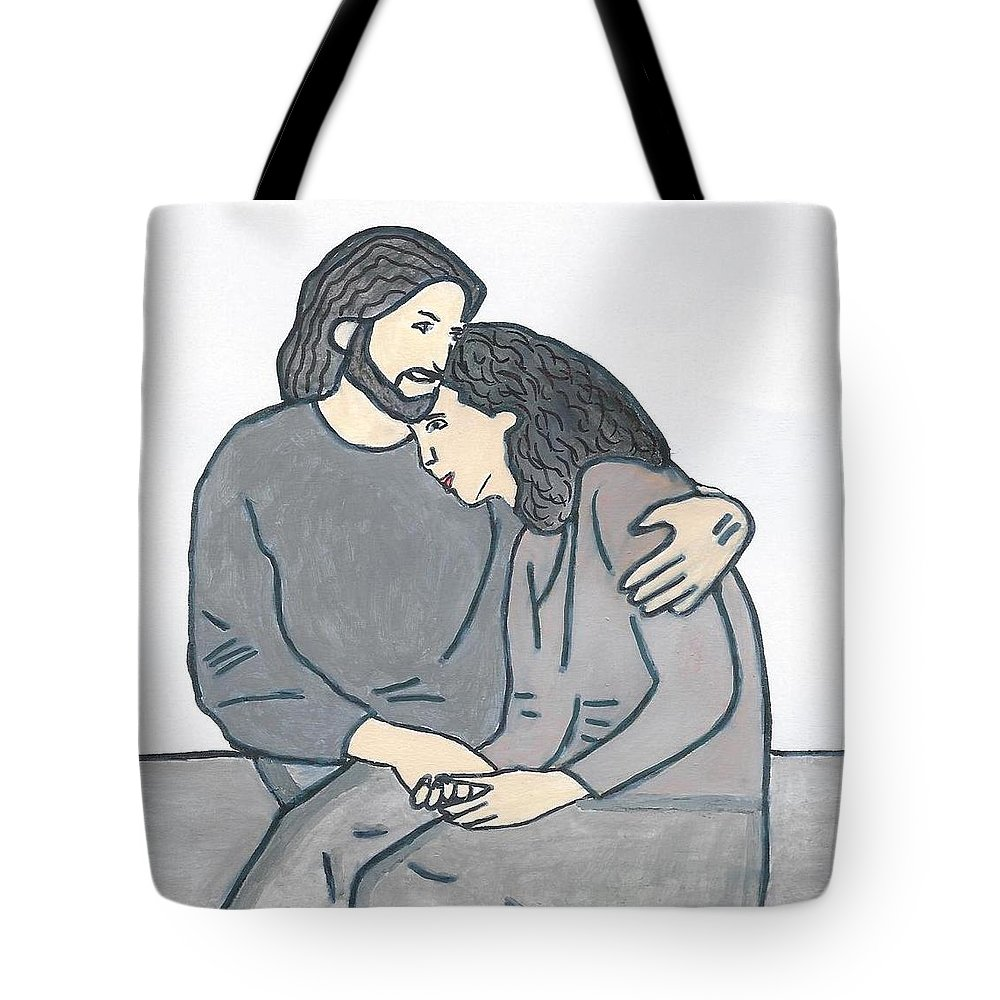 Jesus Tote Bag featuring the painting Lonely Meets God by Magdalena Frohnsdorff