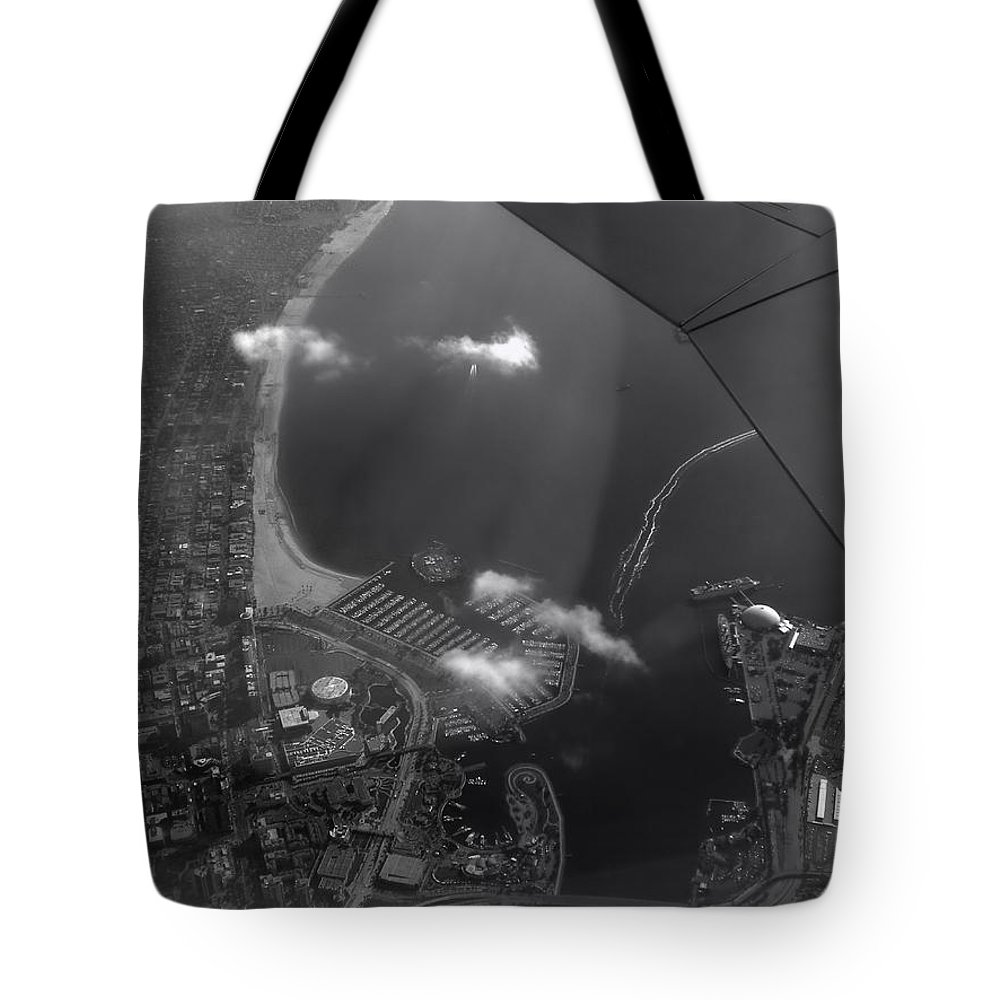 Longbeach Tote Bag featuring the photograph Long Beach Ca Aerial Bw by Thomas Woolworth