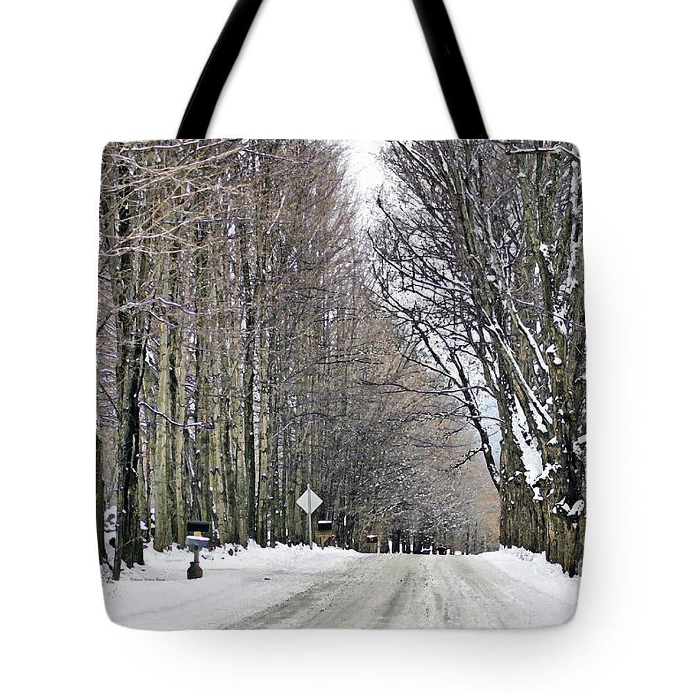 Winter Tote Bag featuring the photograph Long Country Road by Deborah Benoit