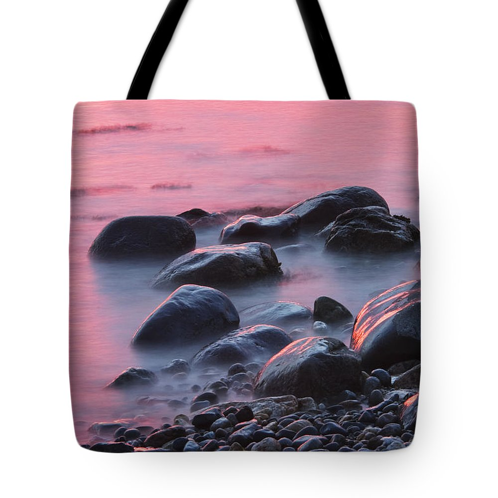 Maine Tote Bag featuring the photograph Long Exsposure Of Rocks And Waves At Sunset Maine by Keith Webber Jr