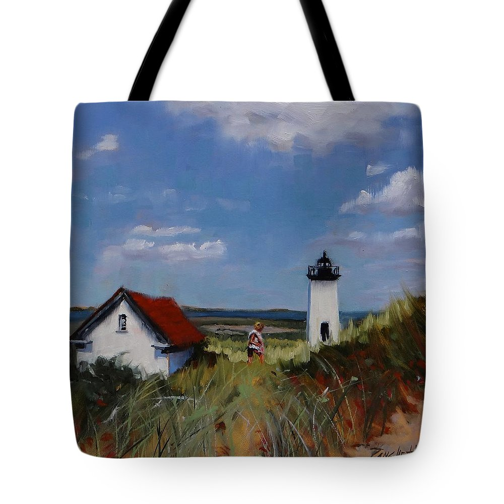 Lighthouse Tote Bag featuring the painting Long Point Lighthouse by Laura Lee Zanghetti