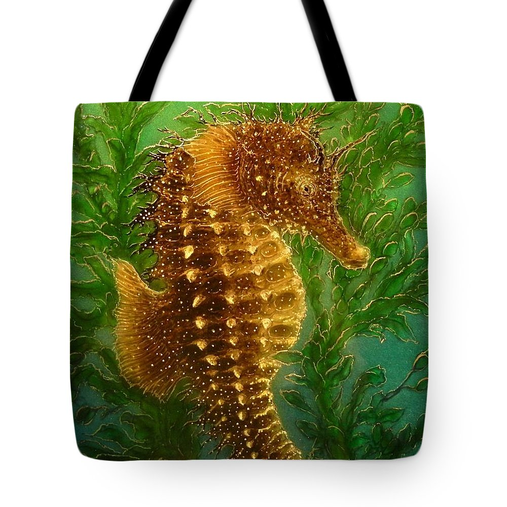 Seahorse Paintings Tote Bag featuring the painting Long Snout Seahorse by Hank Bufkin