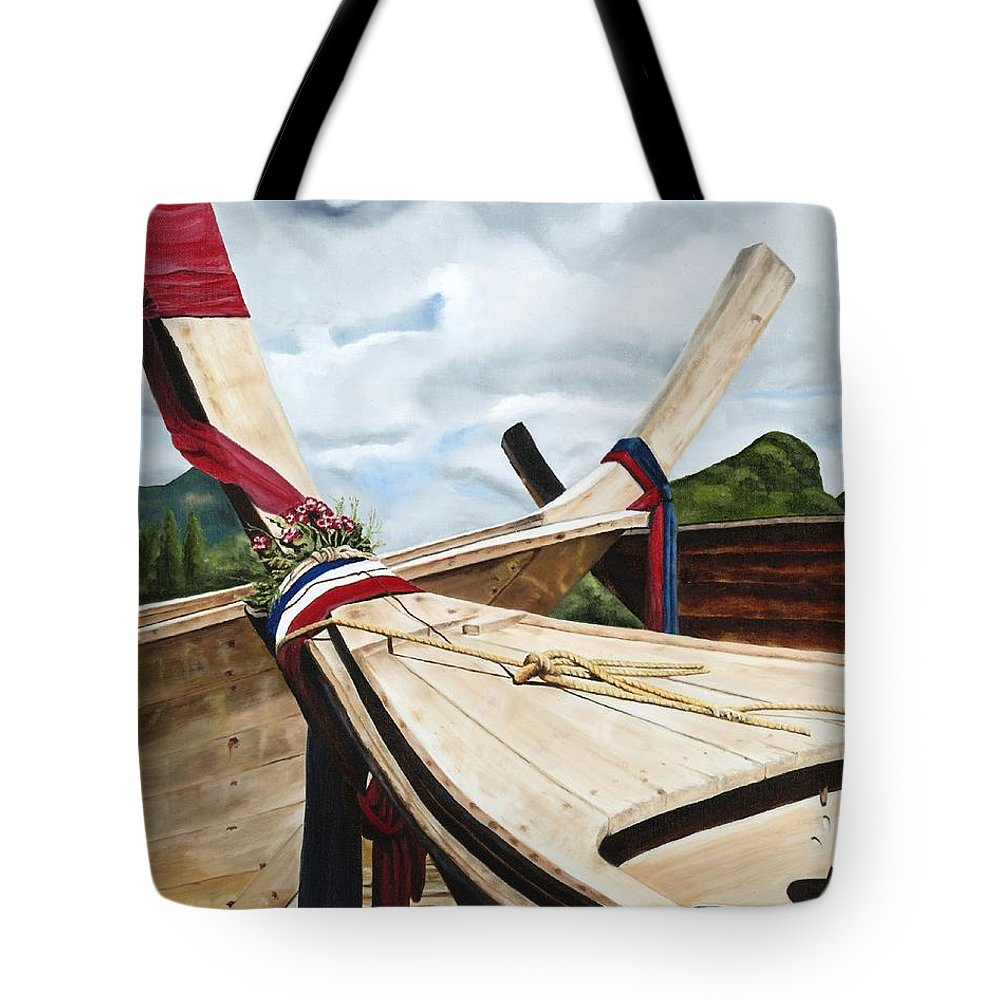 Art Tote Bag featuring the painting Long Tail Boats Of Krabi by Mary Rogers