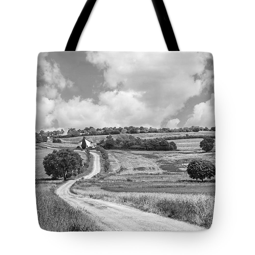 Black And White Landscape Tote Bag featuring the photograph Long Winding Road In Black And White by Gill Billington