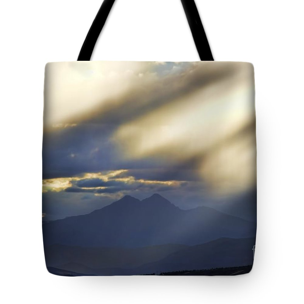 Longs Peak Tote Bag featuring the photograph Longs Peak Through Smoke by Jon Burch Photography