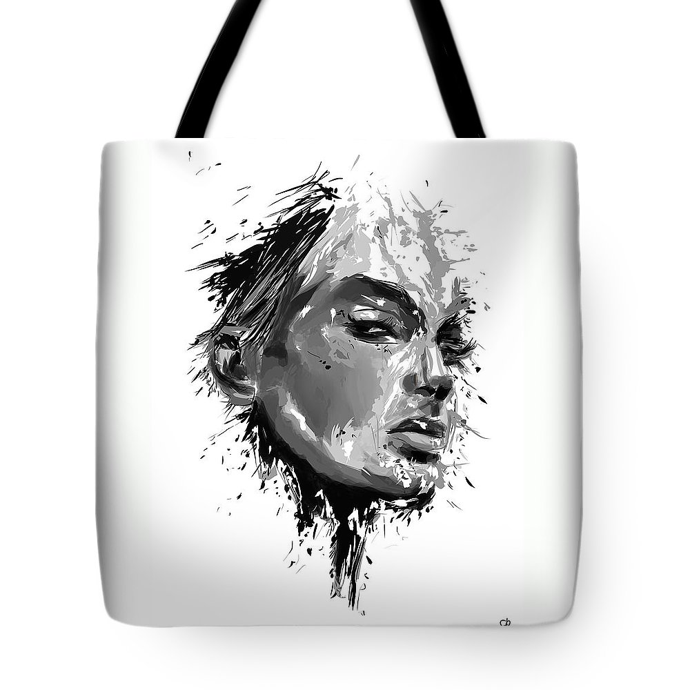 Look Tote Bag featuring the mixed media I See You by Balazs Solti
