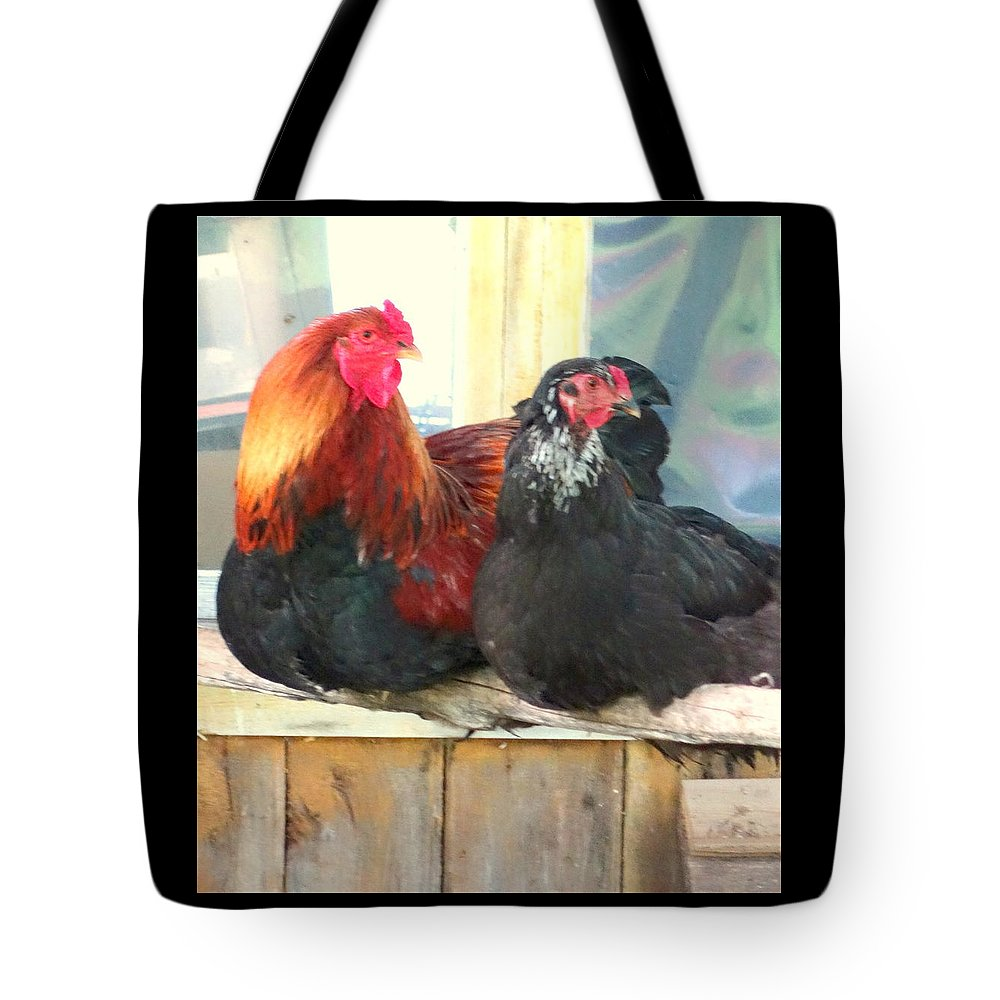 Rooster Tote Bag featuring the photograph Look To The Left, Go To The Right by Hilde Widerberg