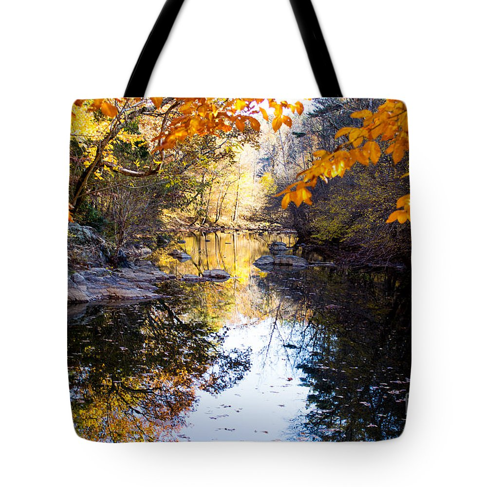 River Tote Bag featuring the photograph Looking Down The Eno River by Sandra Clark