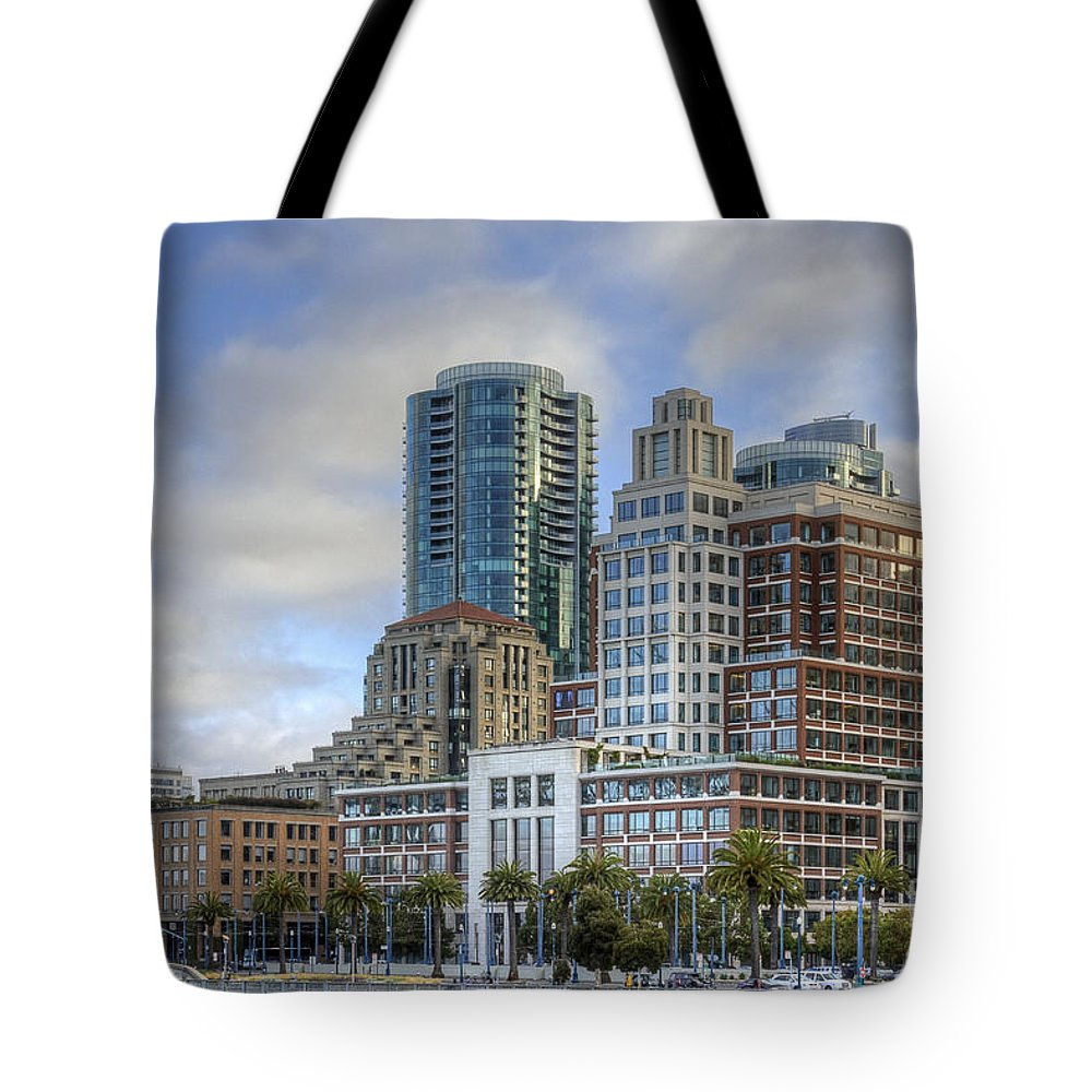 Kate Brown Tote Bag featuring the photograph Looking Downtown by Kate Brown