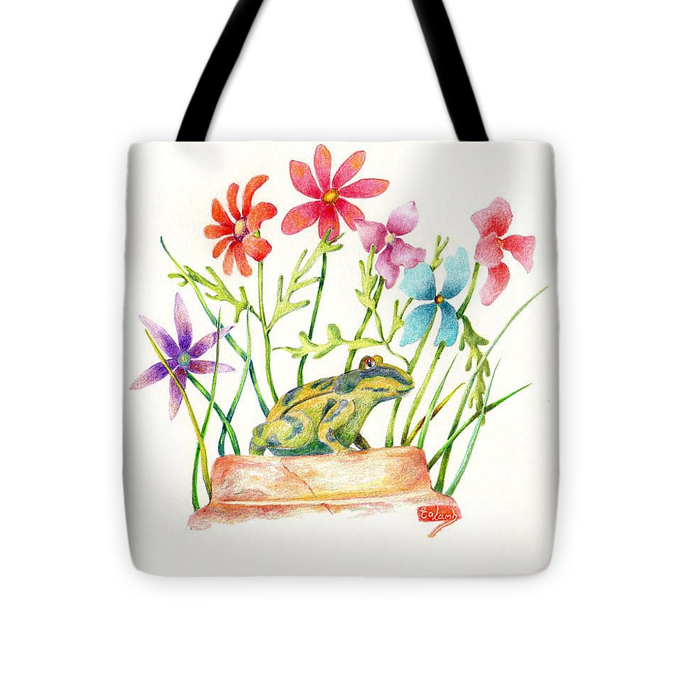 Frog Tote Bag featuring the drawing Looking For Lunch by Liz Lamb