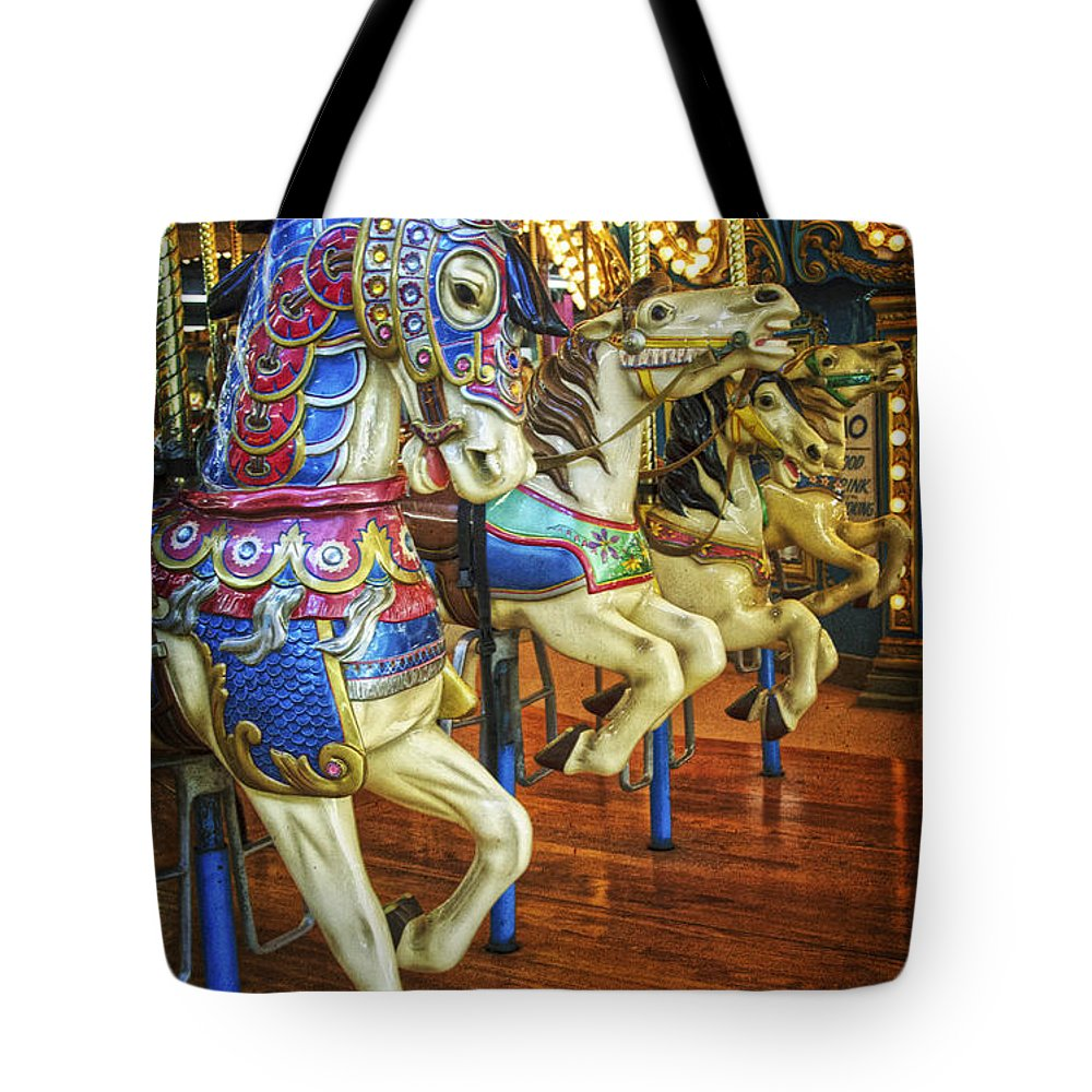 Jersey Shore Tote Bag featuring the photograph Dancing Horses by Debra Fedchin