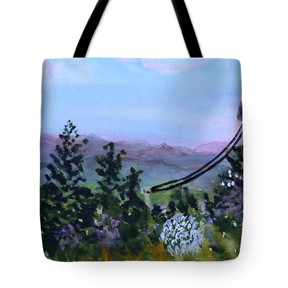 Mountain Tote Bag featuring the painting Looking Out From Top Of Jay Peak by Donna Walsh