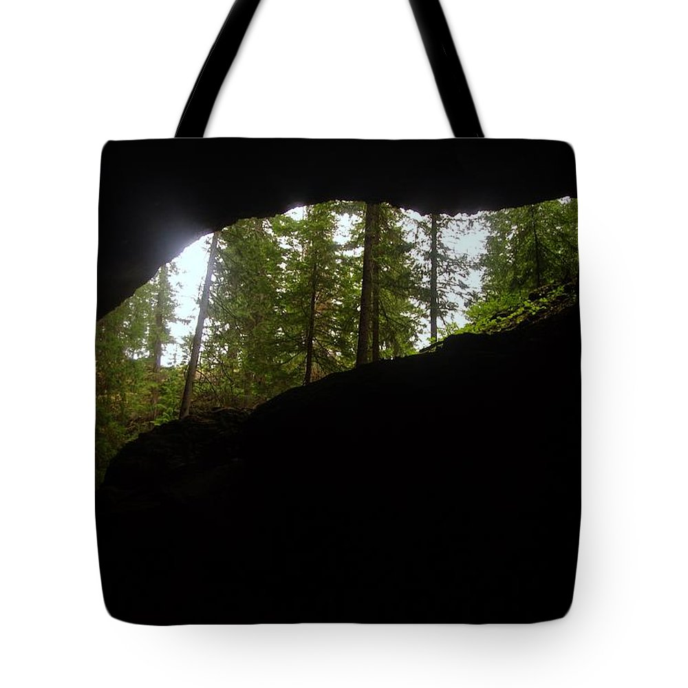 Caves Tote Bag featuring the photograph Looking Outside Boulder Cave by Jeff Swan