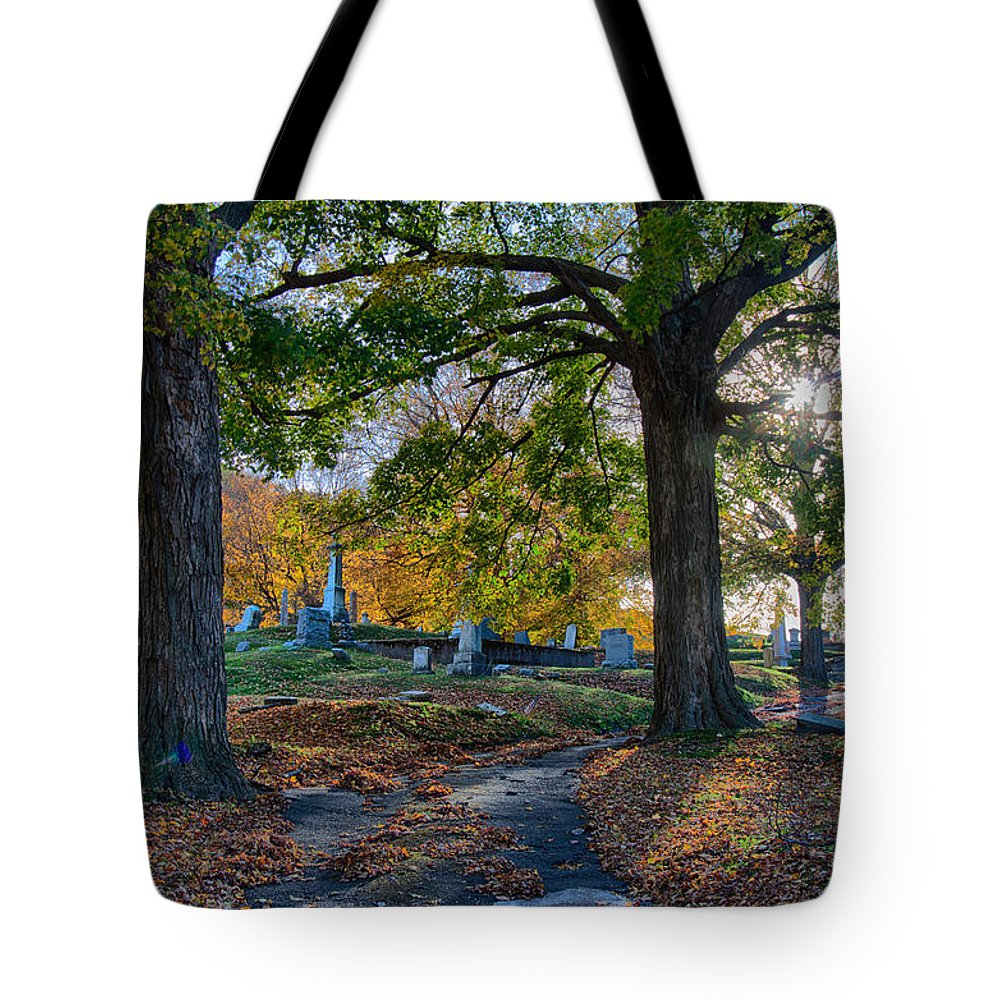 Autumn Foliage New England Tote Bag featuring the photograph Looking Over The Hill by Jeff Folger