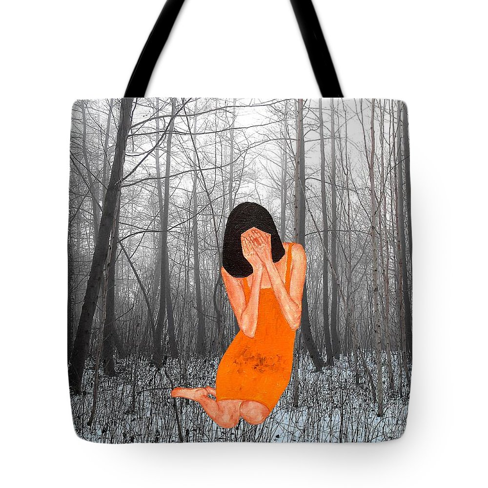 Horror Tote Bag featuring the painting Looking Through My Fingers 3 by Patrick J Murphy