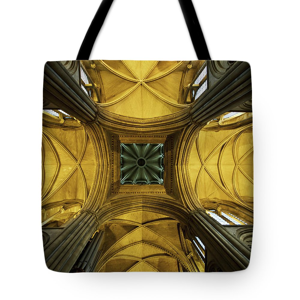 Arch Tote Bag featuring the photograph Looking Up At A Cathedral Ceiling by James Ingham / Design Pics