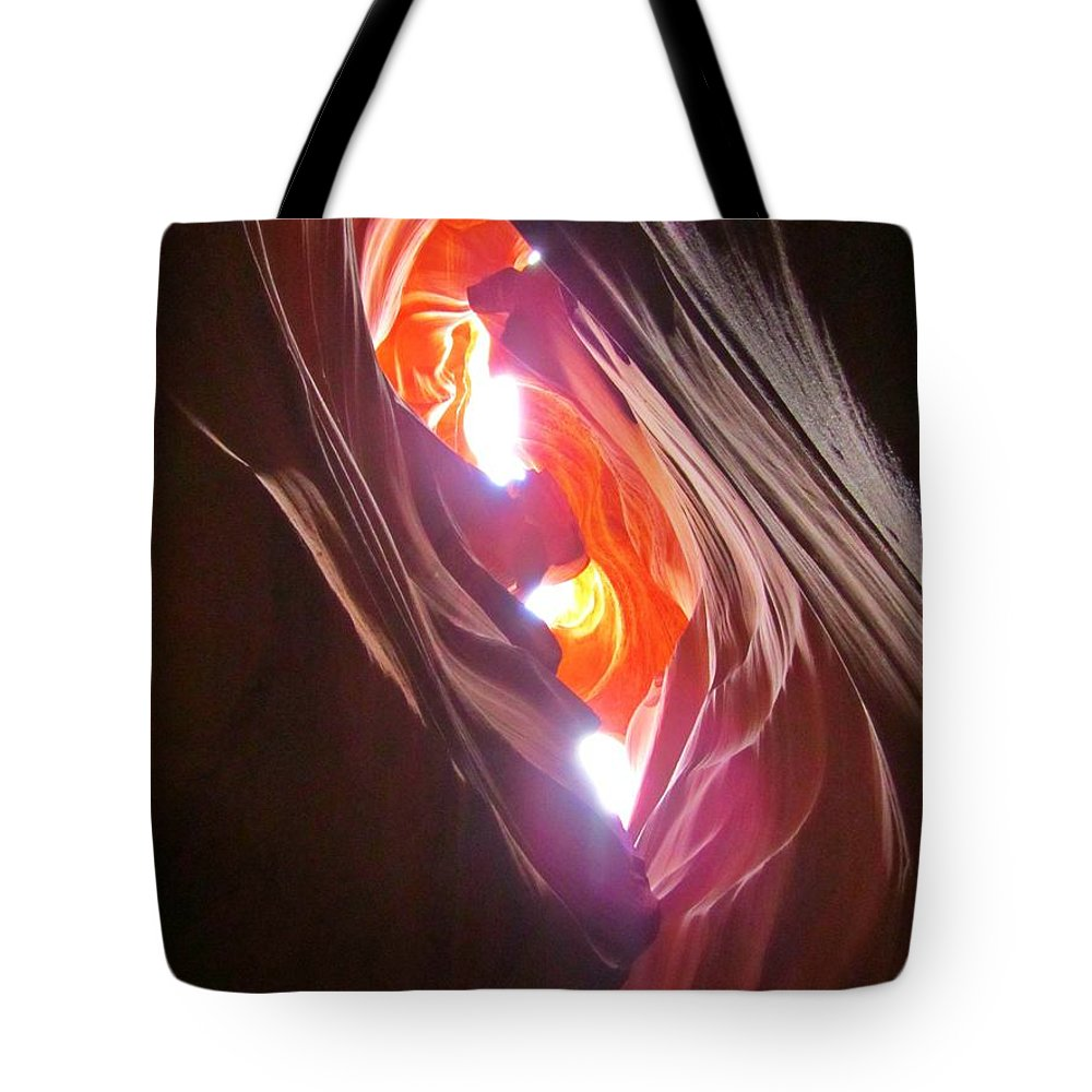 Beautiful Canyons Tote Bag featuring the photograph Looking Up In Antelope Canyon by John Malone