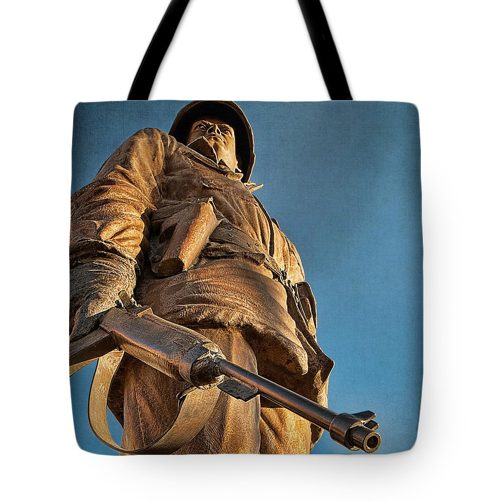 Home Of Heroes Tote Bag featuring the photograph Looking Up To A Hero In Pueblo Colorado by Priscilla Burgers