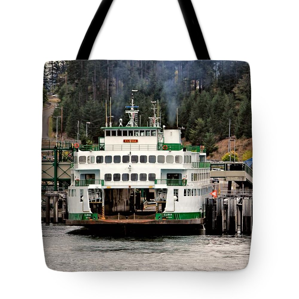 Ferry Tote Bag featuring the photograph Lopez Island Ferry by Rick Lawler
