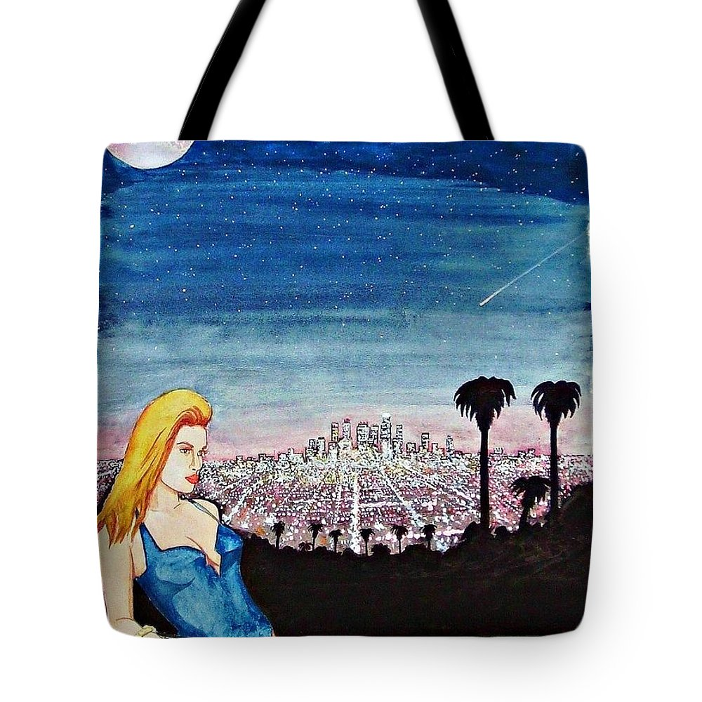 Los Angeles California Woman Swimsuit Skyline Cityscape Travel America Tote Bag featuring the painting Los Angeles 1992 by Ken Higgins