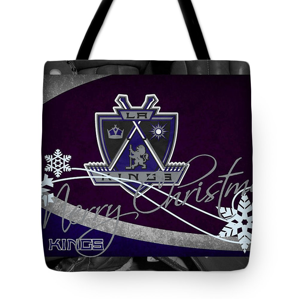 Kings Tote Bag featuring the photograph Los Angeles Kings Christmas by Joe Hamilton