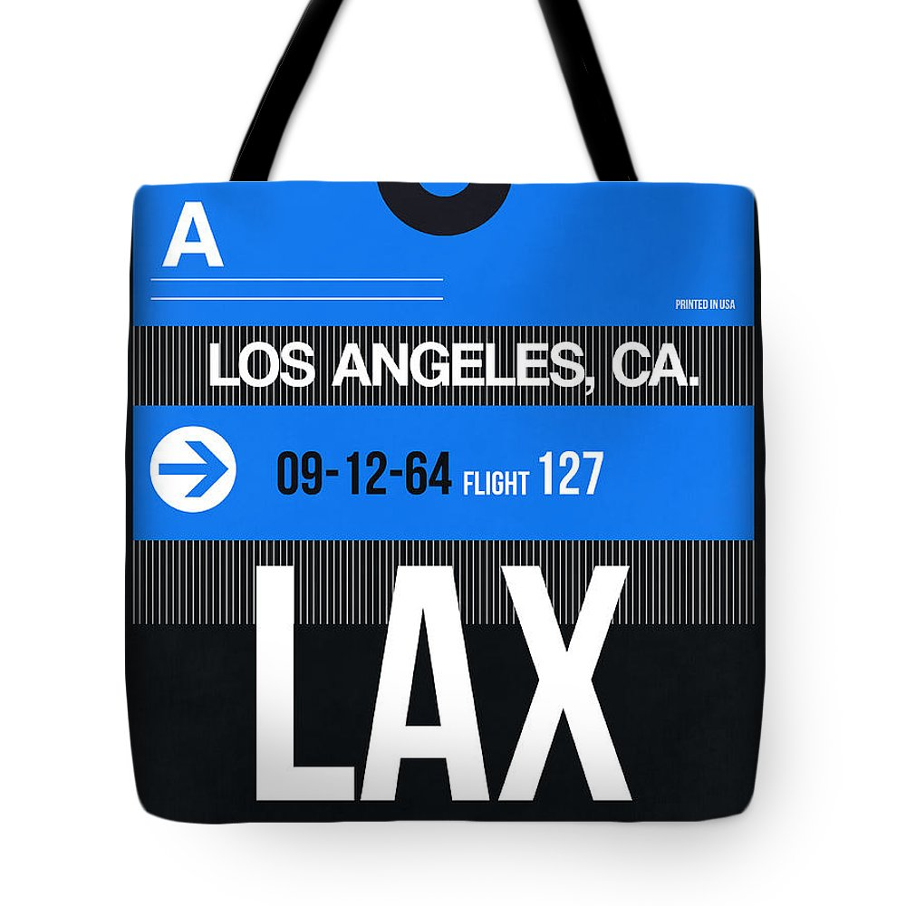 Tote Bag featuring the digital art Los Angeles Luggage Poster 3 by Naxart Studio