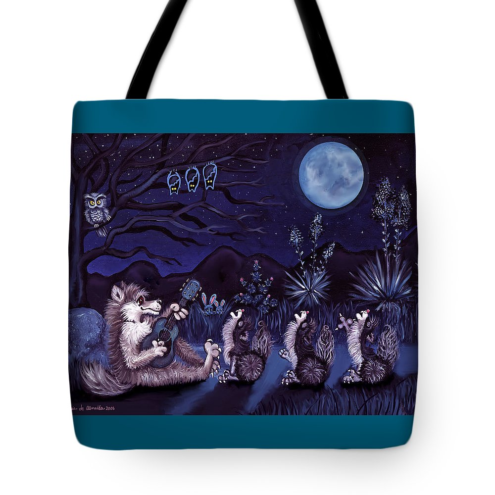 Coyote Tote Bag featuring the painting Los Cantantes Or The Singers by Victoria De Almeida
