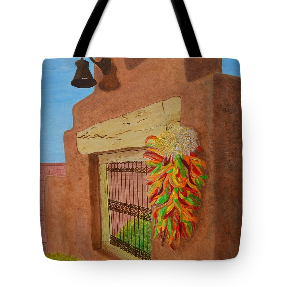 Southwest Tote Bag featuring the painting Los Chiles by Donna Manaraze