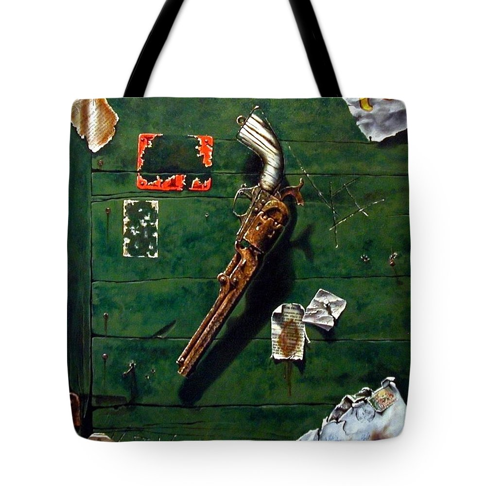 Trompe Le Oil Tote Bag featuring the painting Lost And Found by Jim Gola