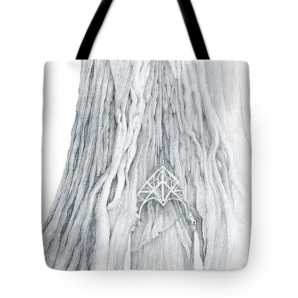 Lothlorien Tote Bag featuring the drawing Lothlorien Mallorn Tree by Curtiss Shaffer