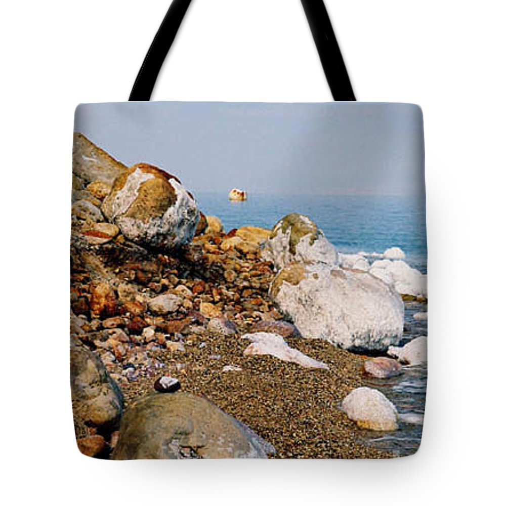 Dead Sea Tote Bag featuring the photograph Lot's Wife by Kathy McClure