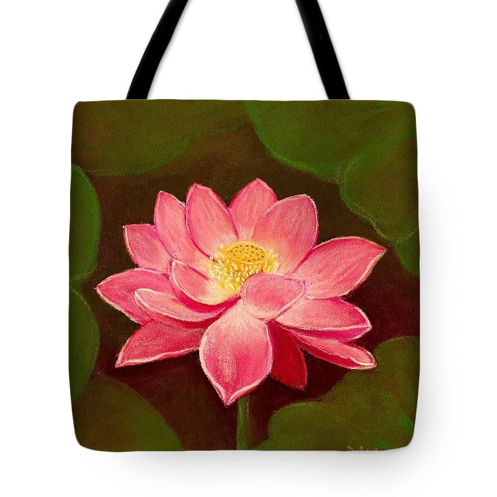 Lotus Tote Bag featuring the painting Lotus Flower by Anastasiya Malakhova