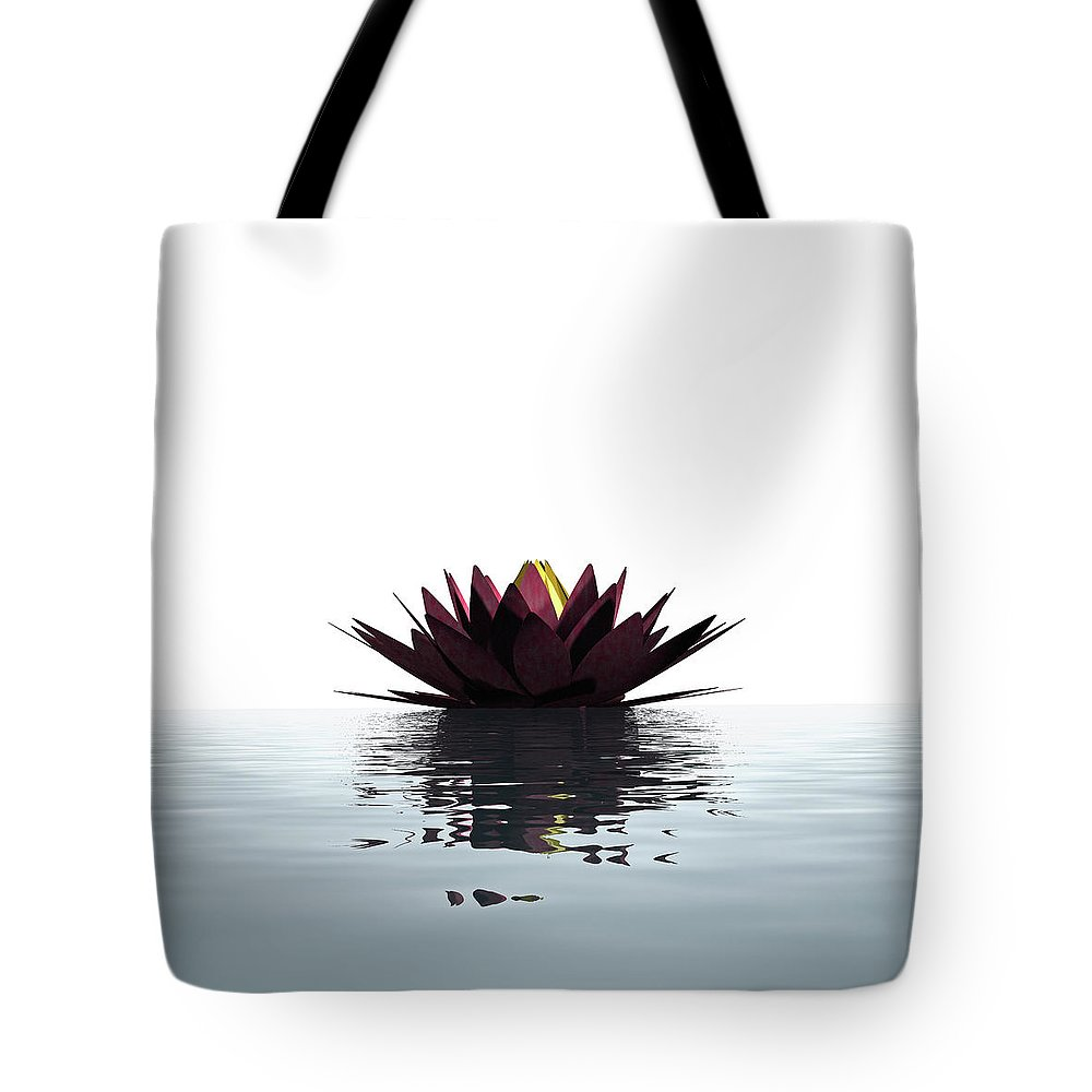 White Background Tote Bag featuring the photograph Lotus Flower Floating On The Water by Artpartner-images