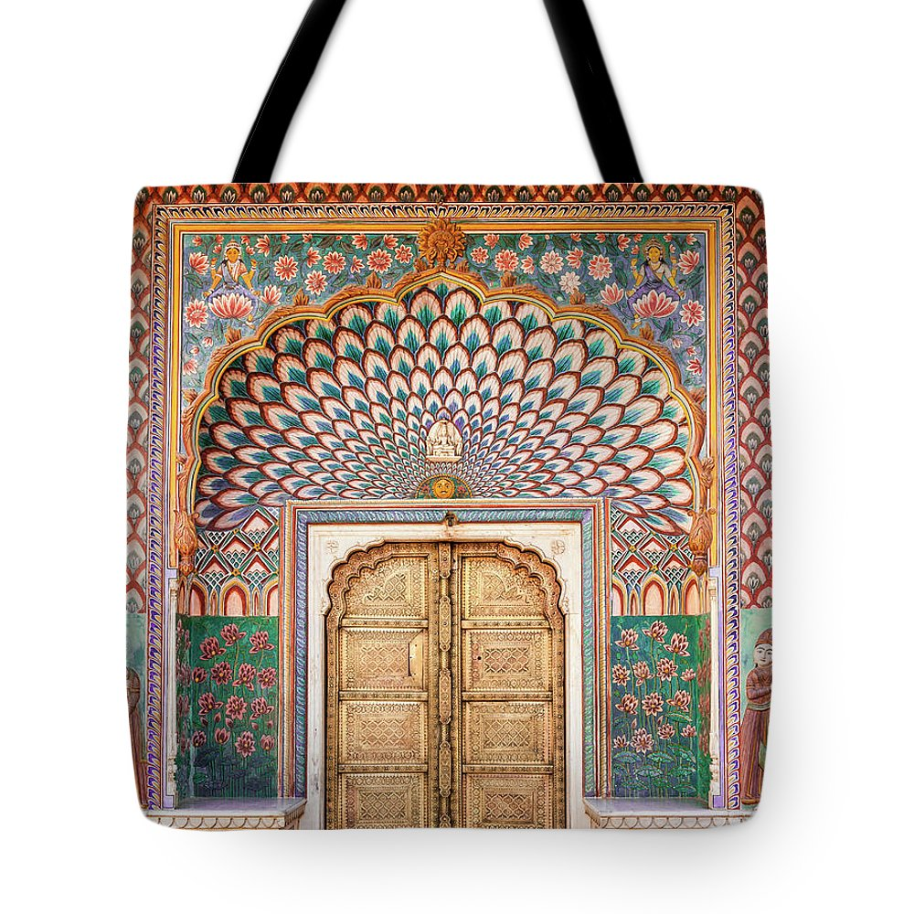 Arch Tote Bag featuring the photograph Lotus Gate In Jaipur City Palace by Hakat