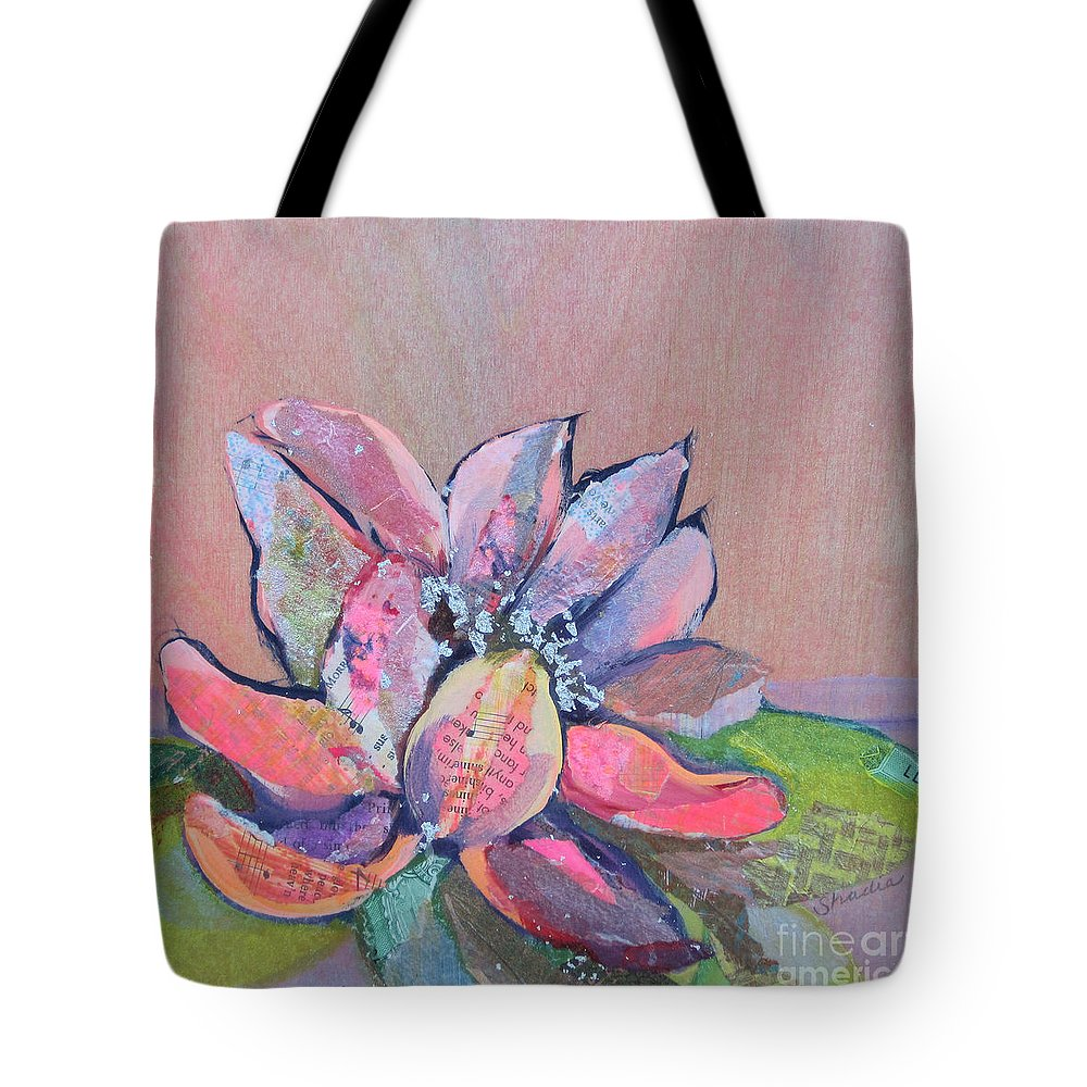 Pink Flower Tote Bag featuring the painting Lotus IV by Shadia Derbyshire