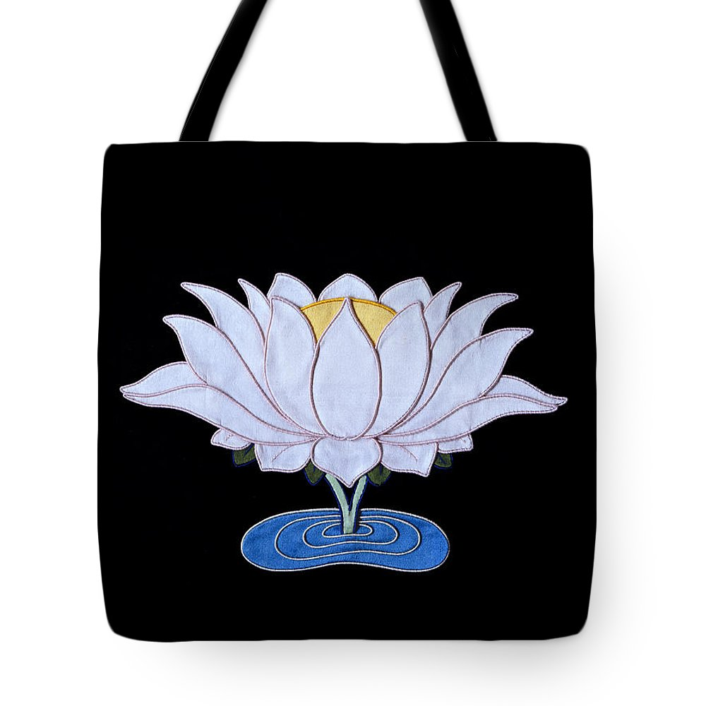 Lotusflower Tote Bag featuring the tapestry - textile Lotus by Leslie Rinchen-Wongmo