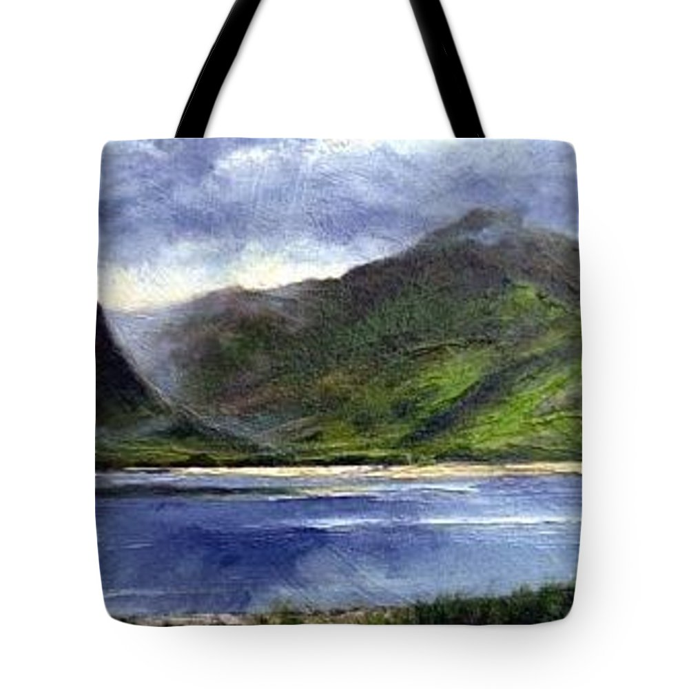 Irish Tote Bag featuring the painting Loughros Bay Ireland by Jim Gola