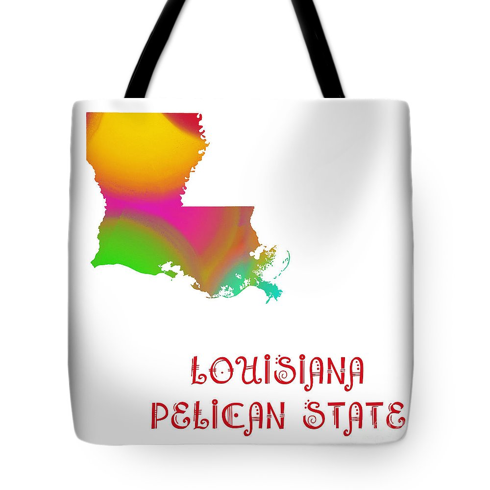 Andee Design Tote Bag featuring the digital art Louisiana State Map Collection 2 by Andee Design