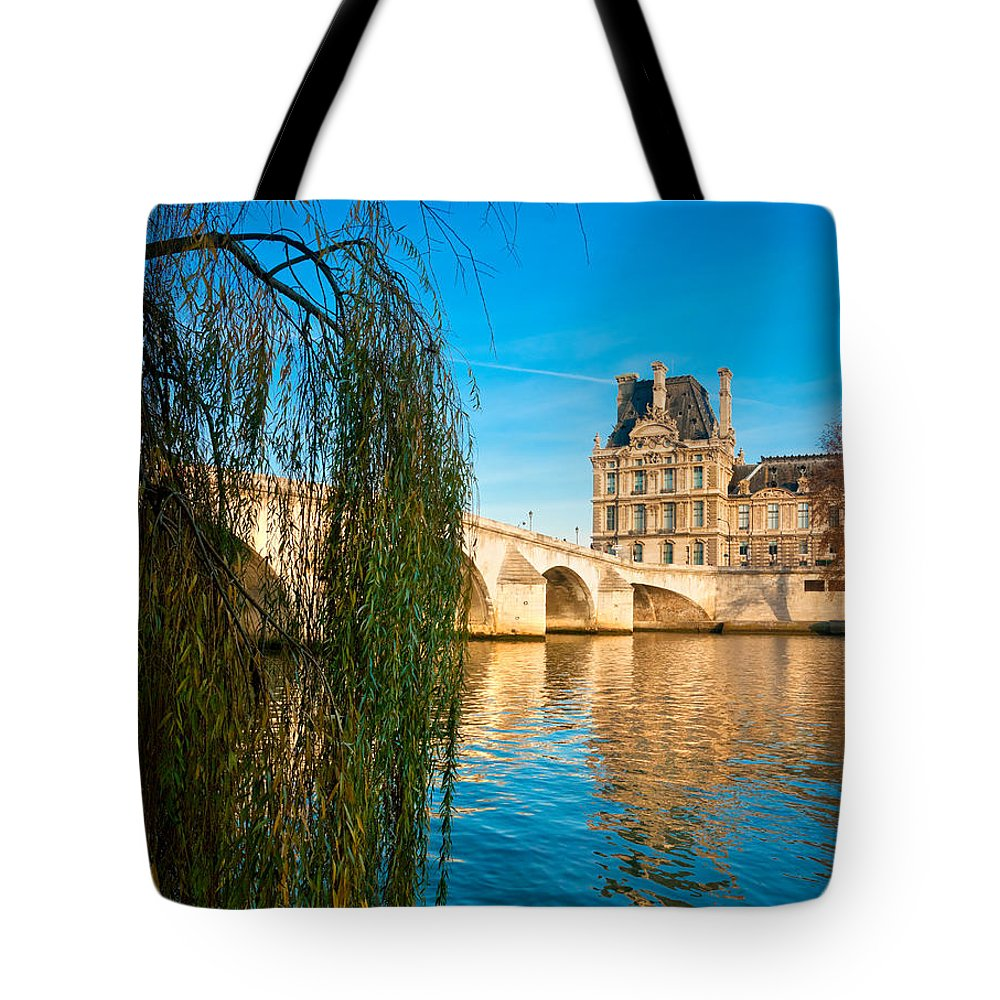 Anniversary Tote Bag featuring the photograph Louvre Museum And Pont Royal - Paris - France by Luciano Mortula