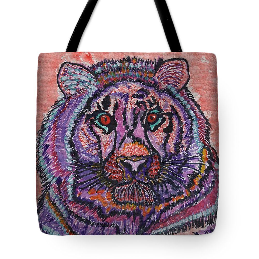 Colorful Bear Tote Bag featuring the painting Love At Fifth Sight by Connie Valasco